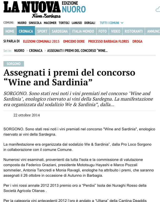 WandS press 2014 - La Nuova premi