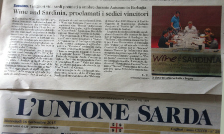 L'Unione Sarda-16-09-2015 Wine and sardinia - press